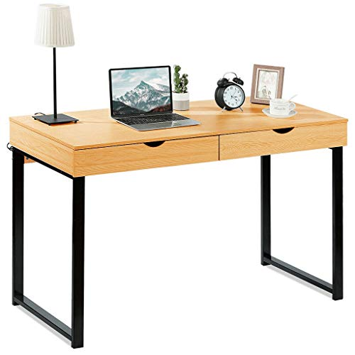 Computer Table Laptop Office Desk Study Table Simple Workstation with 2 Drawers,Provide Massive Space,Easy to Assemble,Suitable for Gaming,Writing,Studying,Training,Meeting, Steel -Yellow