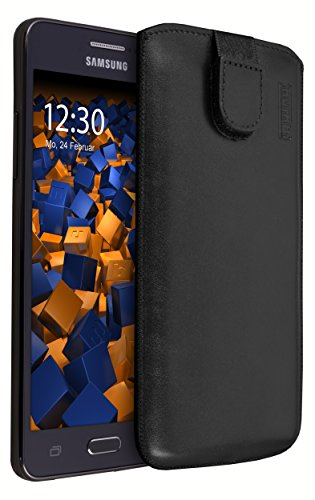 mumbi ECHT Ledertasche für Samsung Galaxy Grand Prime Tasche Leder Etui (Lasche mit Rückzugfunktion Ausziehhilfe)