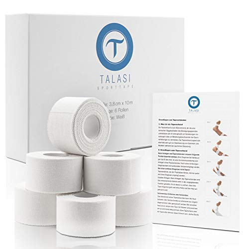 TALASI® Sporttape Set Weiß - 6 Rollen [ 3,8cm x 10m ] Athletic Tape inkl. Flyer und E-Book