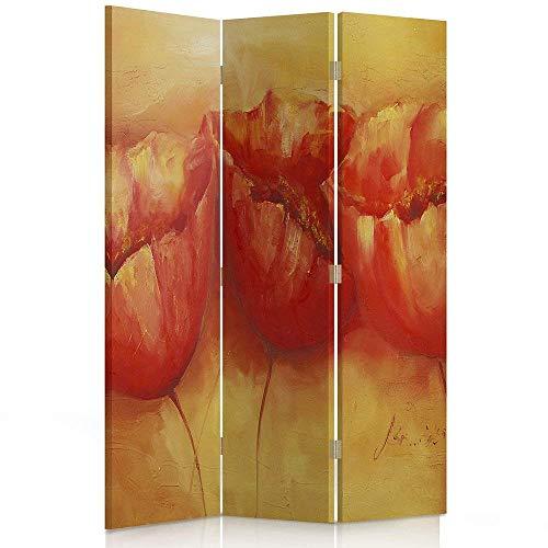 Feeby Frames. Roomdivider, bedrukt op canvas, linnen wandscherm, decoratieve scheidingswand, planten, bloemen, MOHN, ORANJE, ROOD 110 x 180, 1-zijde.