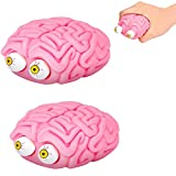 ZQSM 2 pcs Brain with Pop out Eyes Funny Squeeze Toy, Brain Squishy Eye Popping Squeeze Fidget, Pop out Eyes Funny Stress Relief Toy