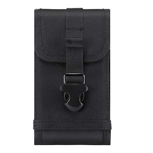 Mopaclle Funda Nylon Exterior MOLLE Táctica Militar Pouch Army Camo Cintura Holster con Clip de cinturón para iPhone 8 Plus, iPhone 7 Plus, 6s 6 Plus, Samsung Galaxy S8 Plus S9 Plus, Note 8 - Negro