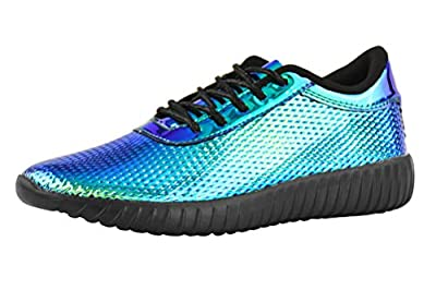 ROXY ROSE Women's Fashion Sneakers Lace Up Metallic Iridescent Painting Creepers Casual Sports Walking Shoes (10 B(M) US, Blue 1)