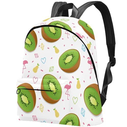 LAZEN Mochila ligera Mochila escolar universitaria Mochila para portátil para adultos y adolescentes Mochila informal Verano Fruta Kiwi Flamingo Pera