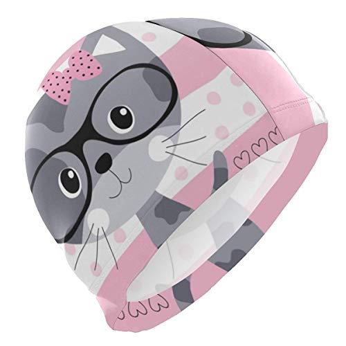 Tcerlcir Gorro Natación Lindo Gato Granate con Gafas Gorro de Piscina para Hombre y Mujer Hecho de Silicona Ideal para Pelo Largo y Corto