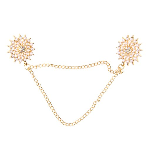 Round Collar Tips Shirt Stud Neck Brooch with Chain Tassels Golden