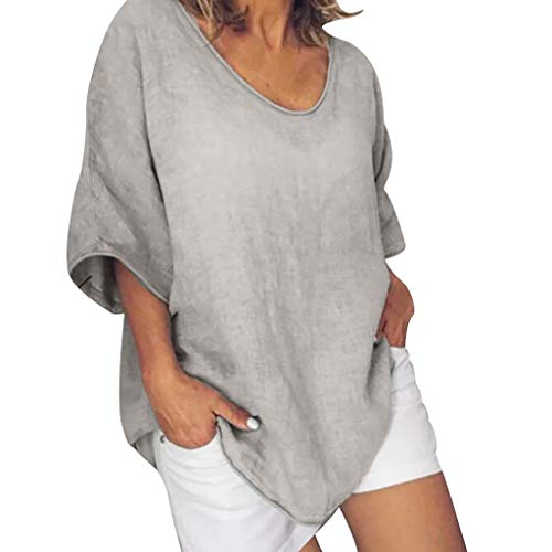 Camisas y Blusas de Mujer, Blusa Informal de Verano con Cuello Redondo y Manga Corta de Talla Grande, Blusas Informales para Mujer (Caqui S)
