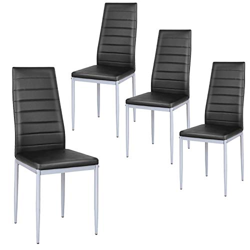 Giantex Set of 4 PU Leather Dining Side Chairs with Padded Seat Foot Cap Protection Stable Frame Heavy Duty High Back Design Dining Chairs for Kitchen Dining Room Home Furniture, Black