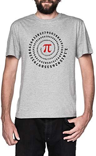 Pi, Π, Espiral, Ciencia, Matemáticas, Mates, Irracional Número, Secuencia Gris Camiseta Hombre Manga Corta Grey T-Shirt Men