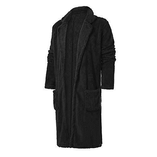KPILP Men Langjacke Lose Windjacke Warme Übergröße Dicke Mode Plüsch Strickjacke Lange Pelzige Doppelseitige Mantel Tops Blusen Herbst Winter Outwear (Schwarz,EU-56/CN-XL)