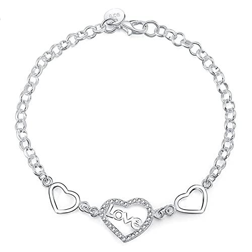 Youdert Pulsera Mujer, 925 Sterling Silver Heart To Heart Zircon Pulsera para Mujeres Boda Compromiso Partido Joyería de Moda