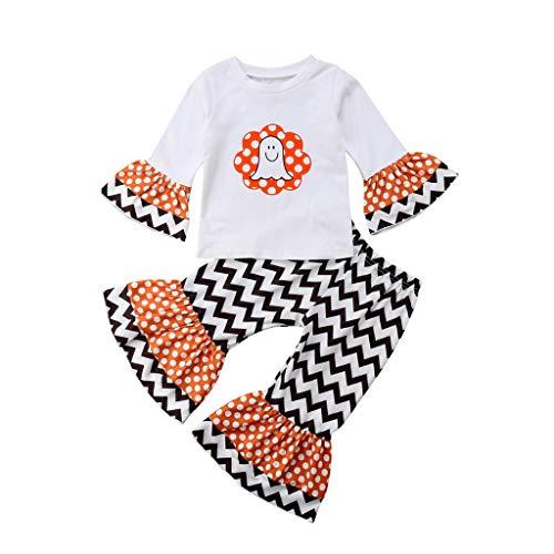 Baiomawzh Ropa Halloween Bebe Niñas Camisa Manga Larga Sonriente Impresión Tops + A Rayas Fondos de Campana Pantalones Beachwear Sudadera,6-12 Meses