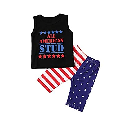 TheFound Baby Boys 4th of July Clothes Sleeveless T-Shirt Vest+Patriotic Stars Shorts Pants Summer Outfits (Stud, 2-3 Years)