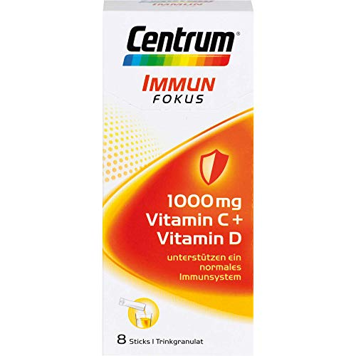 Centrum Immun Fokus – Hochwertiges Nahrungsergänzungsmittel mit Mikronährstoffen – 1000 mg Vitamin C, Vitamin D und Mineralstoffe – 1 x 8 Sticks