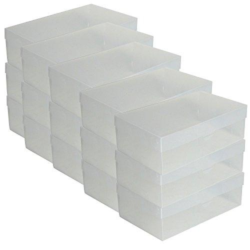 DynaSun 15x PP435 Cajas de Almacenaje para Zapatos Apilable Plegable Contenedor Organizador...