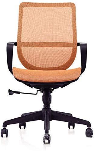 WLD Bürostuhl Direkt Set Swivel Computer-Schreibtisch Aufgabe Stuhl Ergonomischer Mid Zurück Netz-Bürostuhl Zghe,Orange,56 * 68 * 89Cm