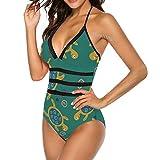Mesllings - Bañador de una pieza para mujer, diseño de tortuga, color verde Multicolor multicolor XL