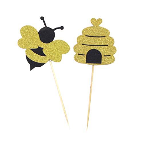 Amosfun Biene Kuchen Topper Cupcake Picks Tortenstecker Tortendeko Kuchendeko für Baby Shower Mädchen Kinder Geburtstag Party Deko 20 Stücke
