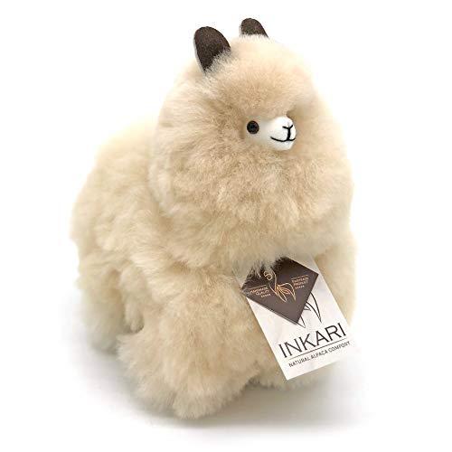 Alpaka Plüschtier aus echter Alpaka-Wolle, handgefertigte Unikate, fair und nachhaltig produziert, 23 cm großes Stofftier, beige, hypoallergen