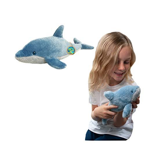 Juguete Suave del delfín de EcoBuddiez, pequeño (los 26cm) - Juguete Suave y mimoso de la Felpa de Deluxebase. Hecho de Las Botellas plásticas recicladas. Regalo mimoso niños.