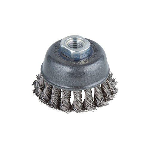 Wolfcraft 2125000 Brosse métallique soucoupe tors pour Meuleuse M14 Diamètre 75 mm,argent