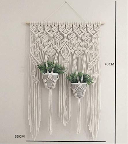HRQGUA macramé-hangende plantenmand wand-handgemaakte kapstok binnenrand en houten kralen voor bruiloften Hanging Basket 3