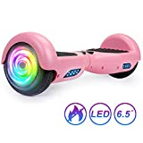 SISIGAD Hoverboard Self Balancing Scooter 6.5' Two-Wheel Self Balancing Hoverboard with LED Lights Electric Scooter for Adult Kids Gift UL 2272 Certified - Pink
