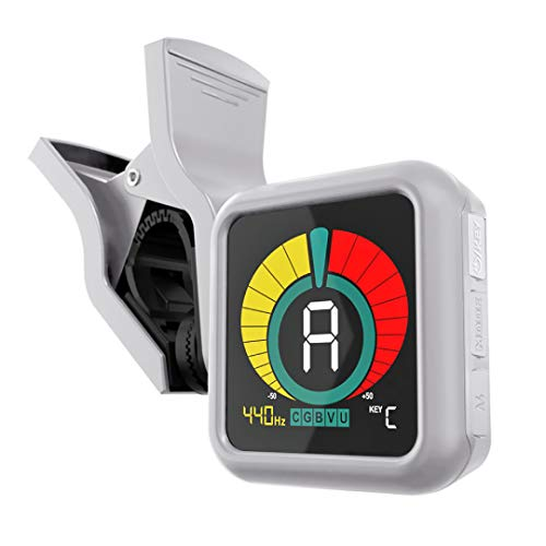 KLIQ UberTuner - Clip-On Tuner for All Instruments - with Guitar, Bass, Violin, Ukulele & Chromatic Tuning Modes, White (Special Edition)
