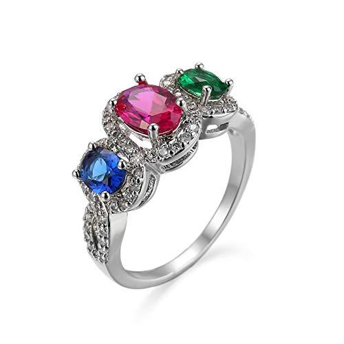 Versprechensring Damen Weiß Vergoldet Rot Grün Blau Zircon Versprechen Verlobungsring für Damen Größe 62 (19.7)