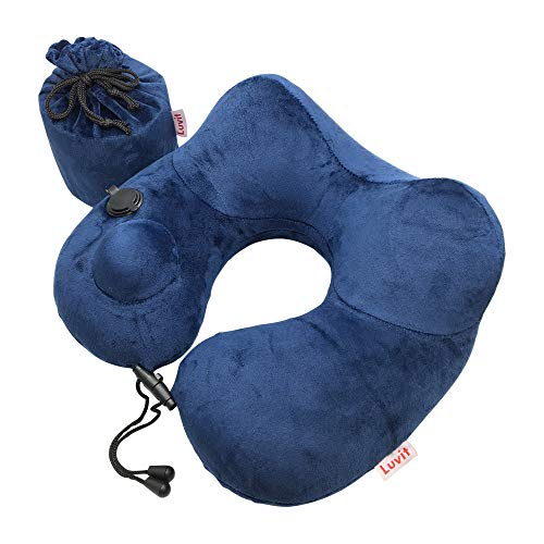 Inflatable Airplane Travel Neck Support Pillow - Cool Ultralight Compact Air Nap Cushion for Mens Women and Kids  Superior Head Neck and Chin Rest Design Best Super Soft Cosy Traveling Pillows