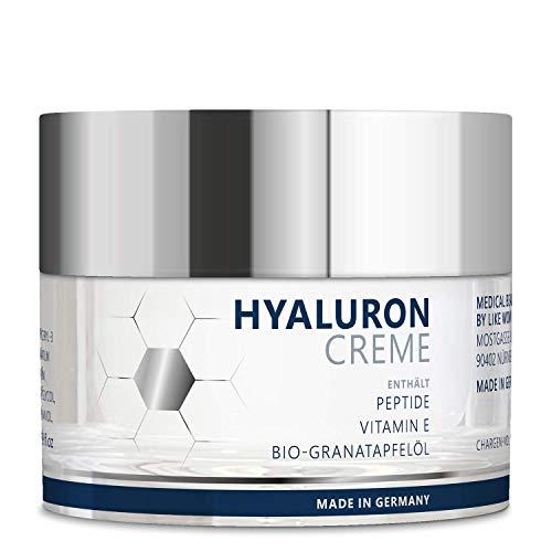 TESTSIEGER 2020* Vegane Anti-Aging Hyaluron Creme 50 ml mit 3 hochdosierten Hyaluronsäuren (quervernetzt, nieder-, hochmolekular) und Peptiden für Gesicht, Hals und Dekolleté – Made in Germany