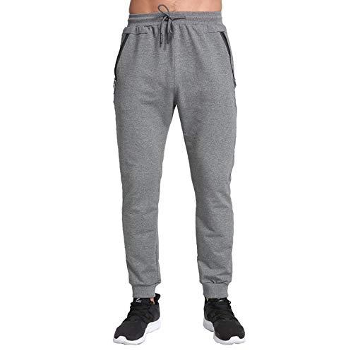 ZOXOZ Pantalones de chándal para hombre, ajustados, de algodón, con bolsillos con cremallera gris L