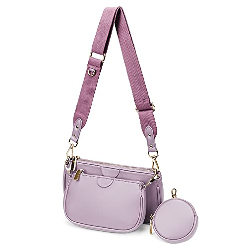 YALUXE Borsa a tracolla Borsetta donna 2 Tasca con cerniera e portamonete Pelle sintetica Fashion Viola