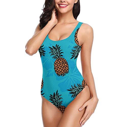 Traje de baño de una Pieza, Traje de baño de piña Aloha Ropa de Playa Trajes de baño de Playa de Verano para Mujer Talla M