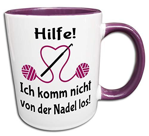 Häkeln Tasse, Frau Häkeln Geschenk, Wolle Nadel Spruch Lustig, Süchtig nach Häkeln, Handarbeit, Kaffeetasse, Teetasse