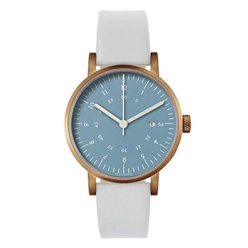 VOID V03D |Armbanduhr | Gehäuse Kupfer | Zifferblatt hellblau | Armband Leder hellgrau | Unisexuhr designed by David Ericsson