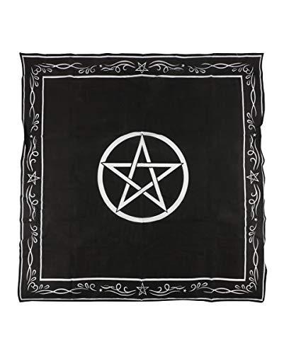 Horror-Shop Schwarz-Weißes Pentagram Altar-Tuch 94 x 94 cm