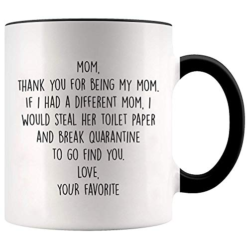YouNique Designs Mom Mug, 11 Ounces, Mothers Day Gifts from Daughter or Son Mug, Mom Coffee Mug 1734 (Black Handle)