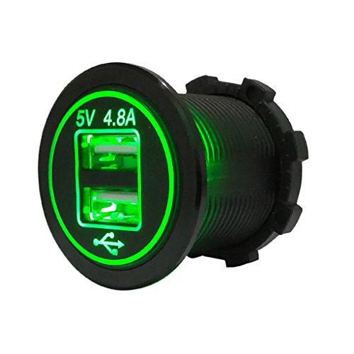 Huiouer - Cargador de coche con doble USB, 12 V y 24 V, universal, adaptador de corriente