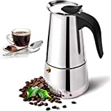 Stovetop - Cafetera de acero inoxidable para 2 tazas (100 ml, apta para cocinas de cerámica y de gas)