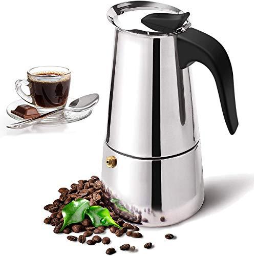 Espressokocher, Kaffeekocher Edelstahl 2 Tassen 100 ml, Mokkakanne, Espresso Maker, Stovetop Coffee Maker für Keramik und Gasherde geeignet (2 Tassen)