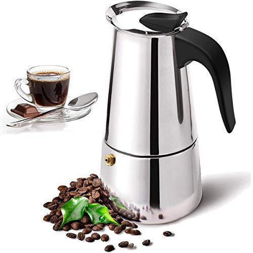 Espressokocher, Kaffeekocher Edelstahl 2 Tassen 100 ml, Mokkakanne, Espresso Maker, Stovetop Coffee Maker für Keramik und Gasherde geeignet (6 Tassen)