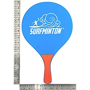 VIAHART Surfminton Classic Blue and Orange Beach Tennis Wooden Paddle Game Set (4 Balls, 2 Thick Water Resistant Wooden Rackets, 1 Reusable Mesh Bag)   New and Improved Fall 2019!