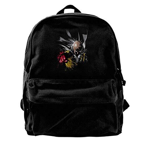 Canvas Backpack Saitama Punch One Anime Manga Rucksack Gym Hiking Laptop Shoulder Bag Daypack for Men Women