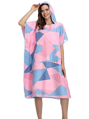 FLYILY Serviette en robe Poncho avec capuche en microfibre Changement Peignoir de Bain Serviette de Poncho(PinkGeometry,L)