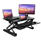 Seville Classics airLIFT Height Adjustable Stand Up Desk Converter/Riser - Keyboard Tray, Dual Monitors, Quick Lift L Table, Full (36'), Black