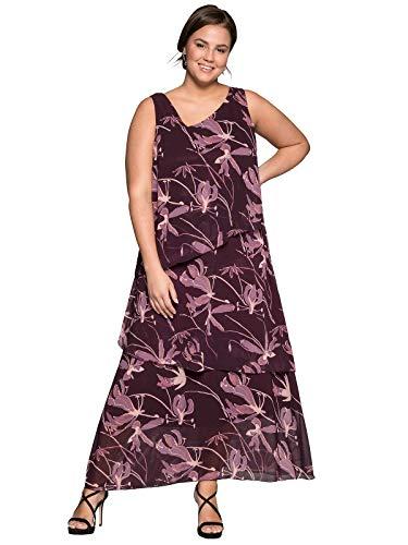 Sheego Damen Abendkleid im asymmetrischen Lagenlook Pflaume, 46