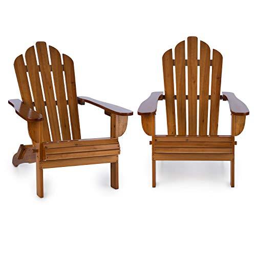 Blumfeldt Vermont Gartenstuhl 2er Set (max. 150 kg Belastung, geneigte Sitzfläche, hohe Rückenlehne, breite Armlehne, witterungsbeständig, Adirondack-Stil, Tannenholz) walnuss