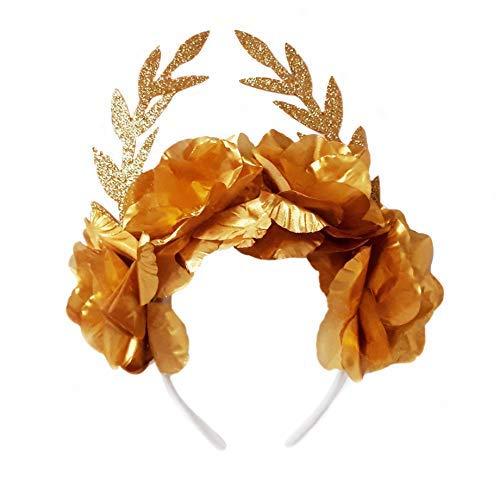 CoSTUME di DEA Greca Diadema corona donna Floreale + 2 bracciali per halloween- accessorio Corona di fogli dorata fascia per capelli romana Codice prodotto standard: 7426938403752