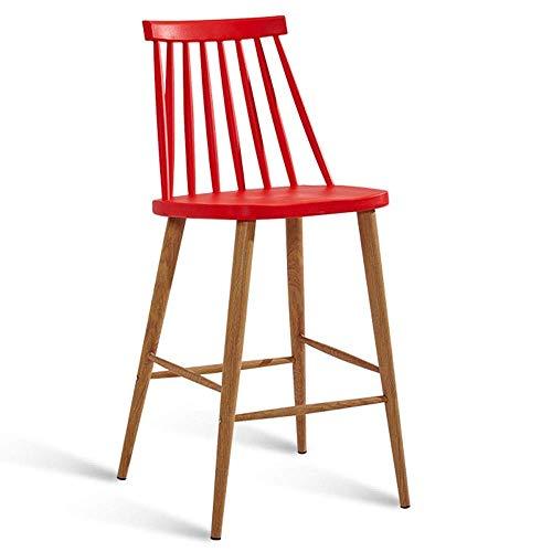 JIEER-C bureaustoel, bureaustoel, barkruk, modern, barstoel, hoge rugleuning van metaal, gewicht lager 200 kg, zithoogte 65 cm (kleur: wit) Rood